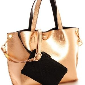 GOLD REVERSIBLE FAUX LEATHER MINI TOTE/ COIN PURSE